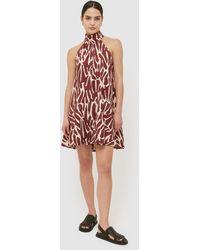 Saba Niah Cotton Halter Mini Dress - Red