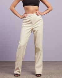 Missguided Pu Faux Leather Trousers - White