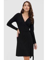 Bamboo Body Long Sleeve Wrap Dress - Black