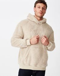 Cotton On Drop Shoulder Teddy Fleece Hood - Natural