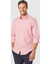 Gazman Tailo Easy Care Check Long Sleeve Shirt - Red