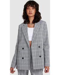 Neon Hart Minnie Plaid Double Breasted Blazer - Grey