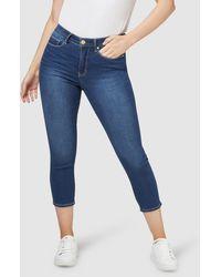 Jeanswest Kara Curve Embracer Skinny Capri Mid Vintage - Blue