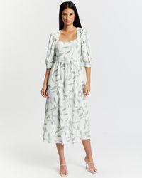 Glamorous Puff Sleeve Midi Print Dress - Multicolour