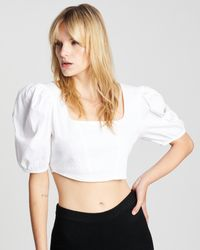 Cotton On Cropped Corset Blouse - White