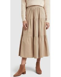 French Connection Tiered Cord Skirt - Natural