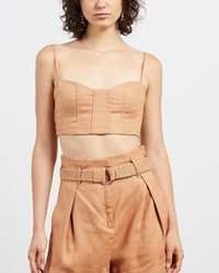Shona Joy Rosa Fitted Crop Top - Natural