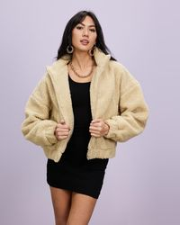 Missguided Zip Through Borg Jacket - Natural