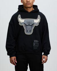 Mitchell & Ness Tonal Bleach Logo Hoodie - Black
