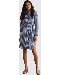GANT Striped Knot Shirt Dress - Blue