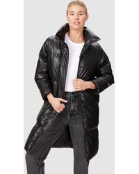French Connection Leather Look Longline Puffer - Black