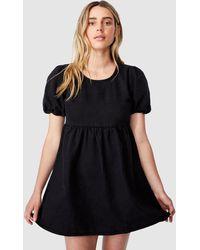 Cotton On Denim Open Back Babydoll Mini Dress - Black