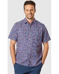 Gazman Casual Floral Short Sleeve Shirt - Blue