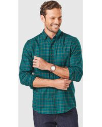Gazman Tailored Brushed Twill Check Long Sleeve Shirt - Green