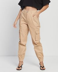Missguided Petite Plain Cargo Trousers - Natural