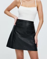 Marcs Lucy Leather Skirt - Black