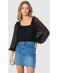 Three Of Something Stevie Lace Blouse - Black