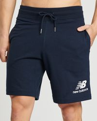 New Balance Essentials Stacked Logo Shorts - Blue