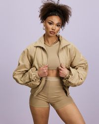 Missguided Ruched Sleeve Bomber Co Ord - Natural