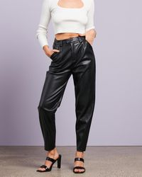 Missguided Faux Leather Balloon Trousers - Black
