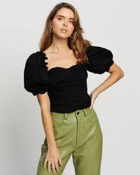 Missguided Petite Denim Puff Sleeve Corset Top - Black
