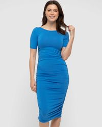 Bamboo Body Jasper Ruched Dress - Blue