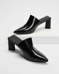 AERE Pointed Toe Leather Mule Heels - Black