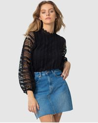 Three Of Something Queenie Lace Blouse - Black