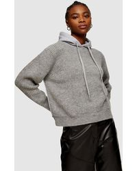 TOPSHOP Knitted Jersey Hoodie - Grey