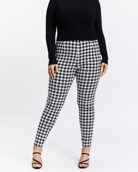 Atmos&Here Curvy Veronica Houndstooth Trousers - Black