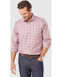Gazman Easy Care Twill Box Check Long Sleeve Shirt - Red