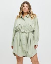 Missguided Curve Plus Contrast Stitch Denim Shirt Dress - Green
