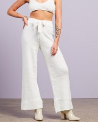 Missguided Rib Recycled Wide Leg Trousers - White