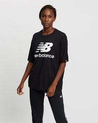 New Balance Nb Essentials Stacked Logo Tee - Black