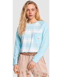 Quiksilver Iconic Horizon Cropped Long Sleeve T Shirt - Blue