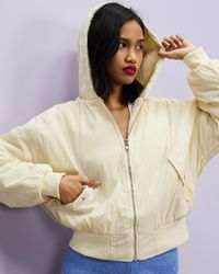 Missguided Borg Lined Bomber - Natural