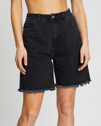 Missguided Longline Denim Shorts - Black