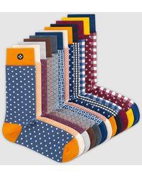 Sockdaily Capital 12 Pack Crew Socks - Blue