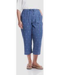 Advocado Plus Straight Leg Crop Trousers - Blue