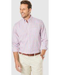 Gazman Easy Care Oxford Check Long Sleeve Shirt - Red