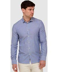 Brooksfield Oxford Stripe Slim Fit Dress Shirt - Blue