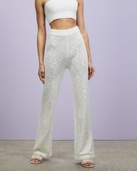 Missguided Co Ord Textured Knit Wide Leg Trousers - White
