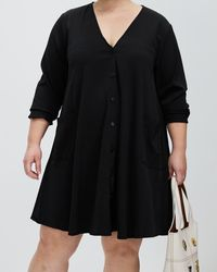 Missguided Curve Plus Button Through Long Sleeve Smock Dress - Black