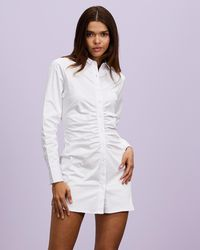 Dazie Set The Tone Shirt Dress - White