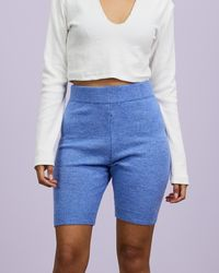 Missguided Longline Knitted Co Ord Shorts - Blue