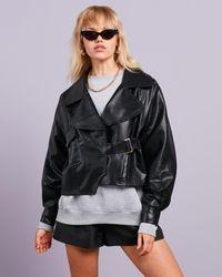 Missguided Faux Leather Balloon Sleeve Oversized Biker Jacket - Black
