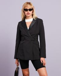 Missguided Co Ord Tailored Open Back Belted Blazer - Black