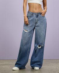 Missguided Super Distressed Baggy Boyfriend Jeans - Blue