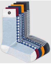 Sockdaily Sailor 6 Pack Crew Socks - Blue