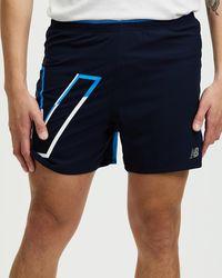 New Balance Printed Impact Run 5 Inch Shorts - Blue